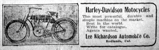 Harley-Davidson advertising May 24, 1908
