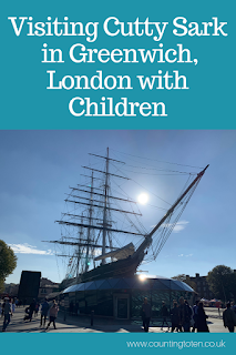 Image of the Cutty Sark with title: visiting Cutty Sark in Greenwich, London with Children