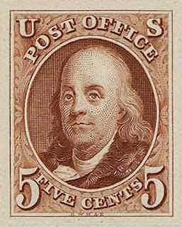 Benjamin Franklin on a 5 cent stamp