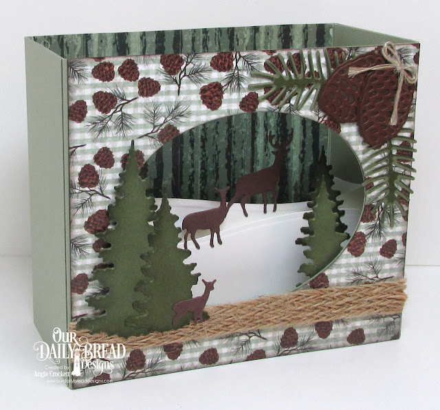 ODBD Custom Trees and Deer Dies, ODBD Custom Curvy Slopes Dies, ODBD Custom Pine Cones Dies, ODBD Custom Pine Branches Dies, ODBD Christmas Paper Collection 2017, ODBD Custom Ovals Dies, Card Designer Angie Crockett