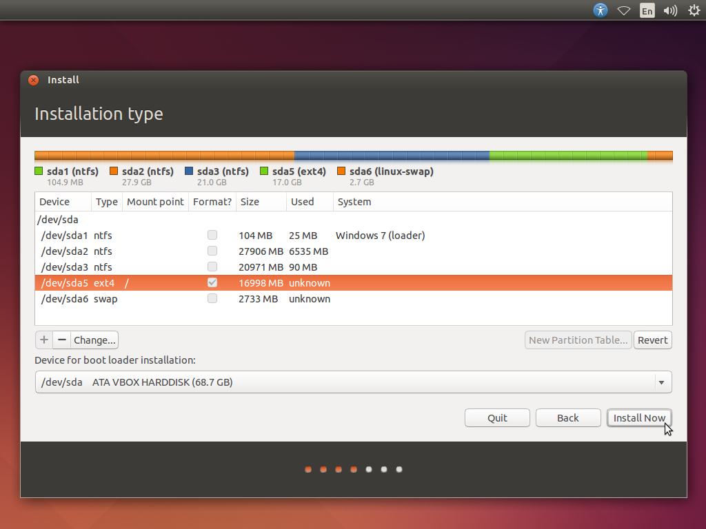 The disk configuration for installation of Ubuntu - screenshot