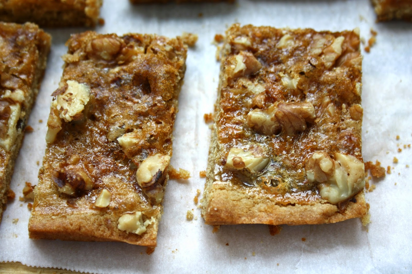 Pecan bars with a shortbread base and crunchy nut topping