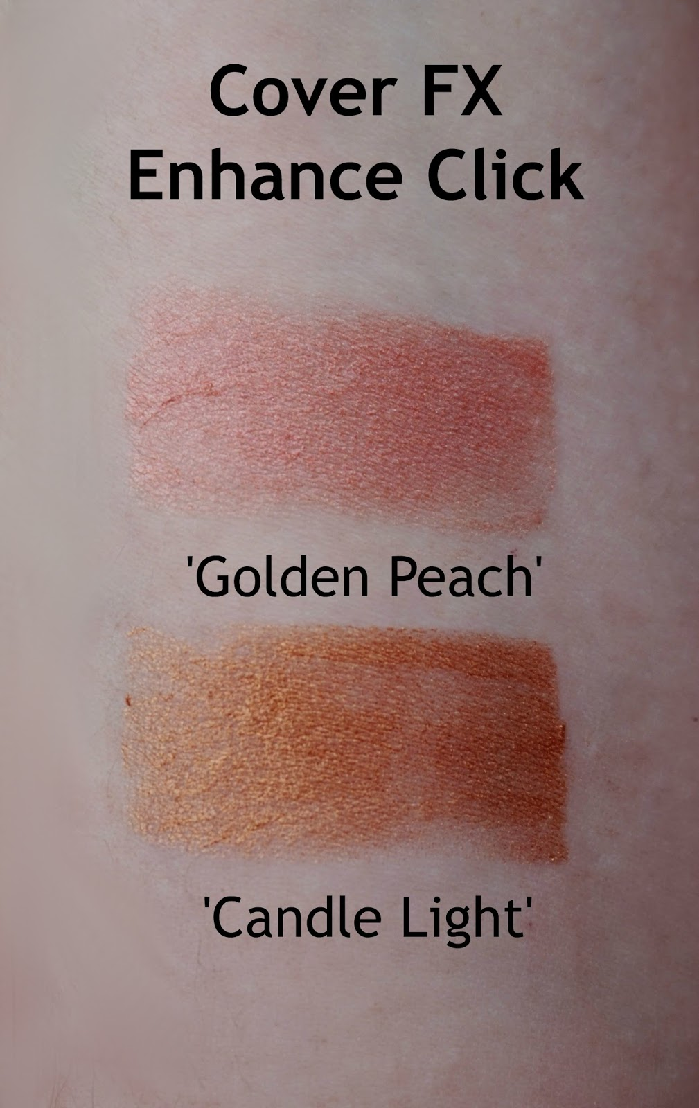Cover FX Enhance Click Golden Peach Candle Light swatch review