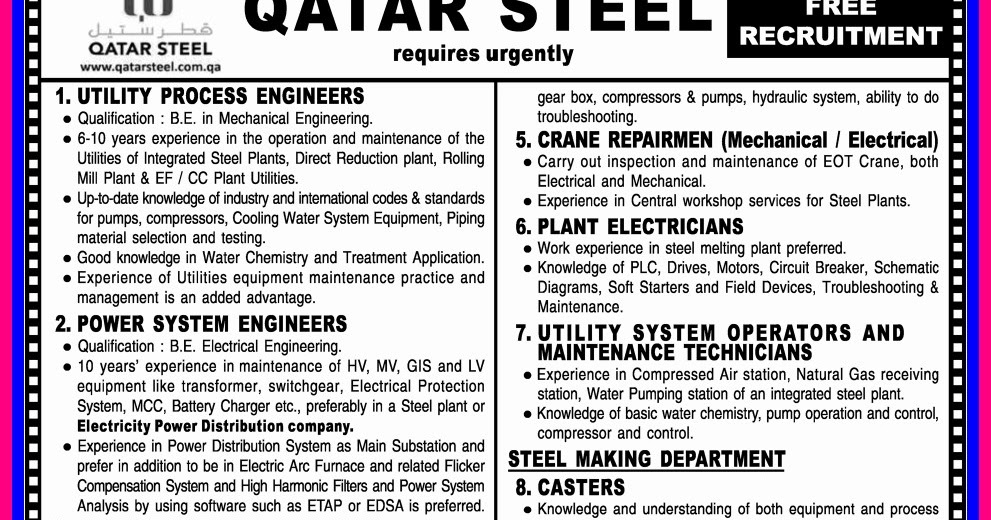 Free Recruitment For Qatar Steel - Gulf Jobs for Malayalees