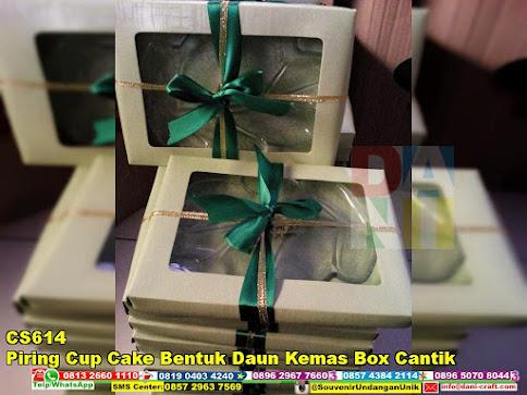 jual Piring Cup Cake Bentuk Daun Kemas Box Cantik