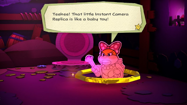 Paper Mario Color Splash Wendy O. Koopa boss fight battle Instant Camera Replica is like a baby toy