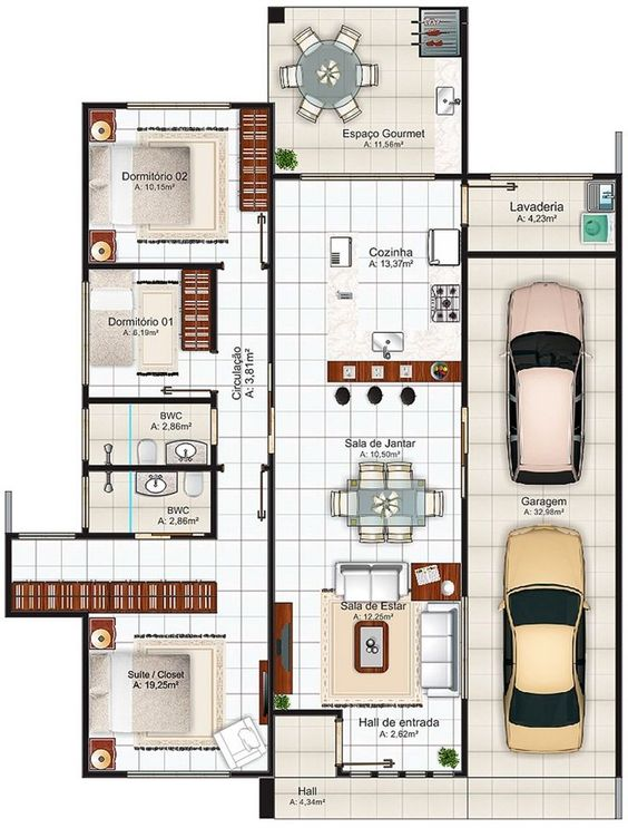 House floor plan in Porto Alegre 148 square meters with 2 bedrooms
