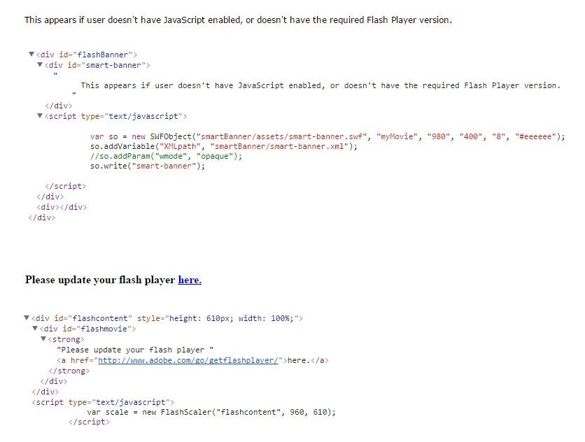 這個頁面上的內容需要較新版本的 adobe flash player