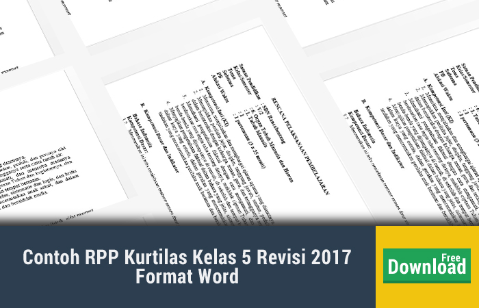 Contoh RPP Kurtilas Kelas 5 Revisi 2017 Format Word