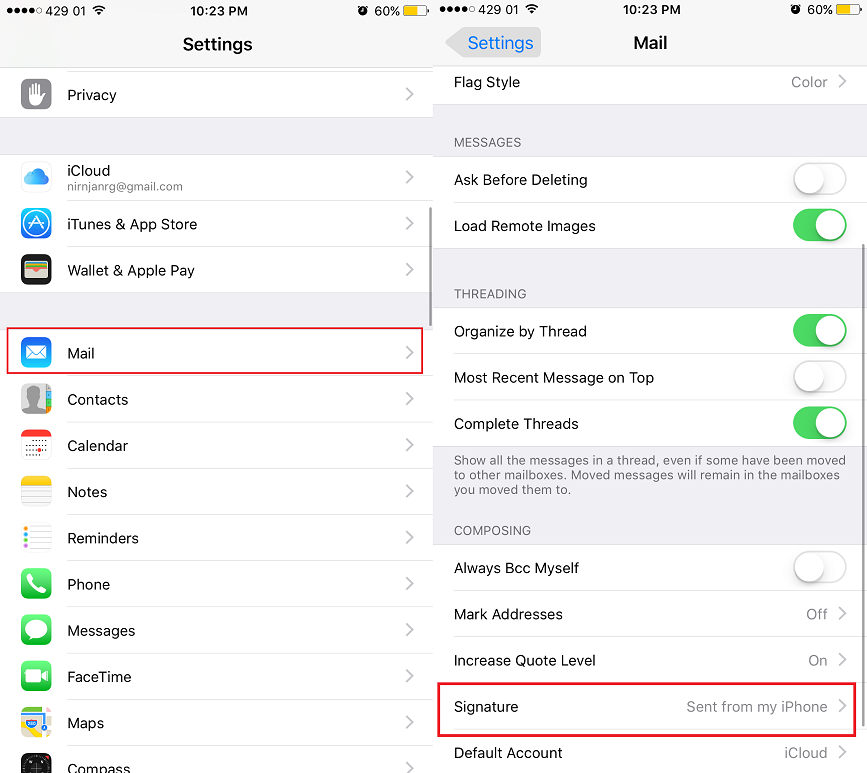 how to delete sending email on iphone