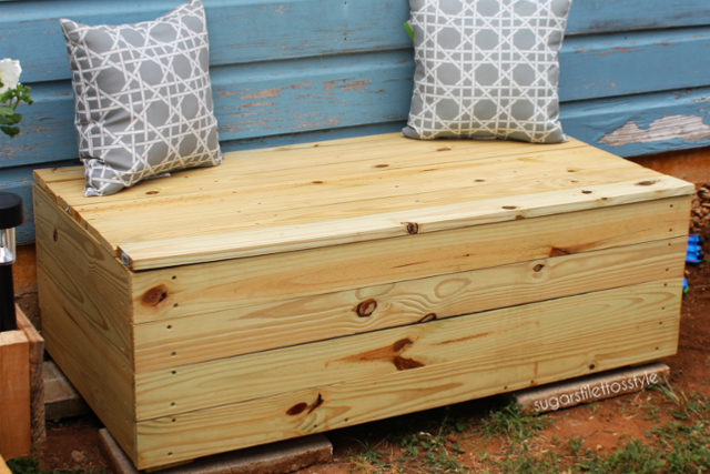 DIY Outdoor Storage Bench - Shaina Glenn