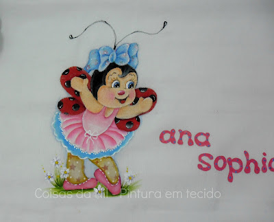 pintura em tecido joaninha bailarina