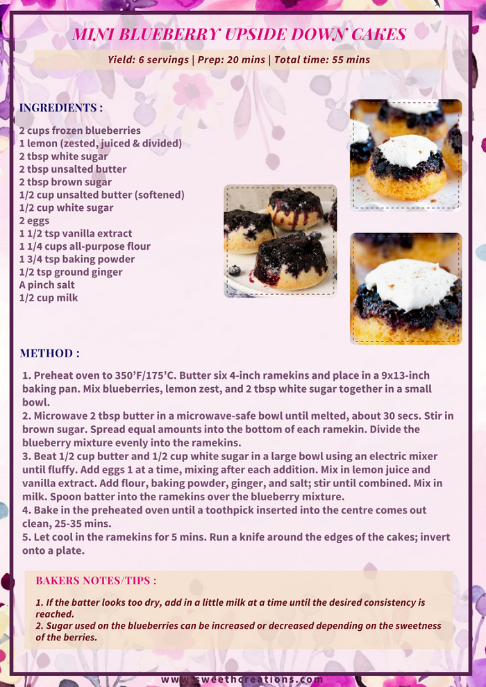 MINI BLUEBERRY UPSIDE DOWN CAKES RECIPE