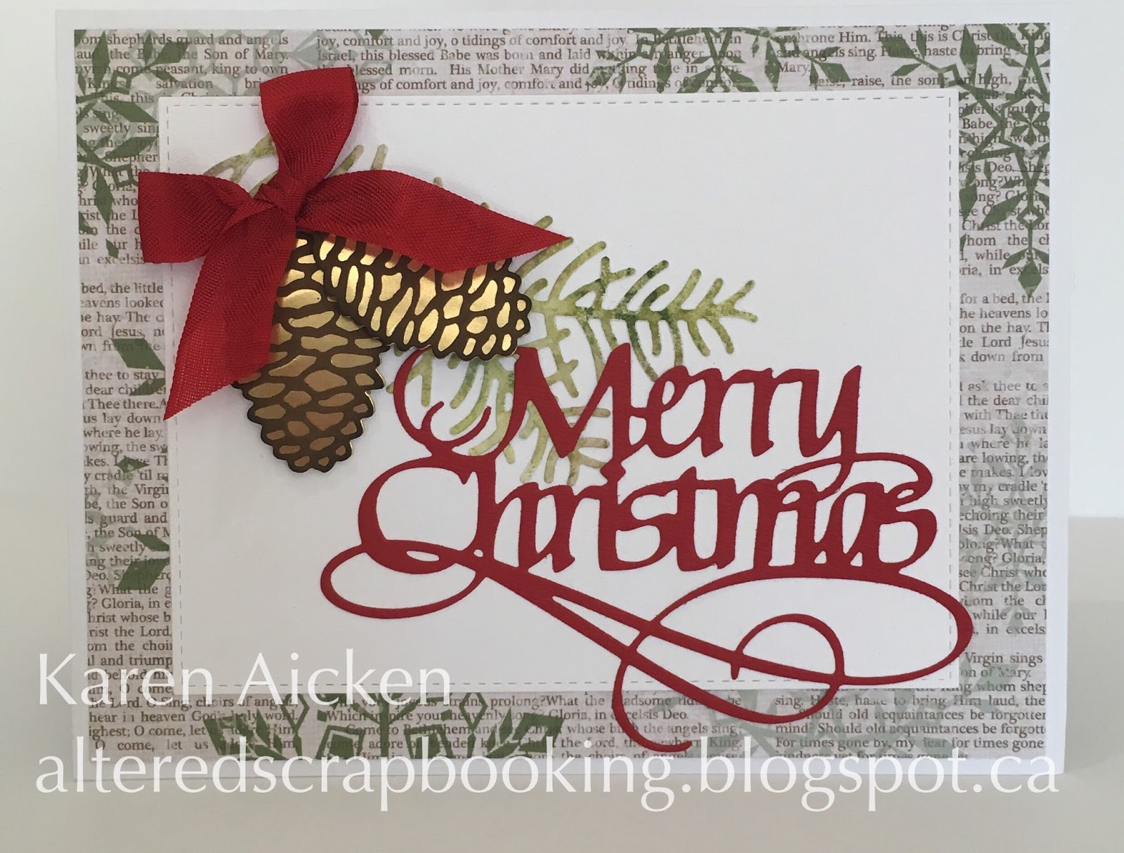 Altered Scrapbooking Calligraphy Merry Christmas Card