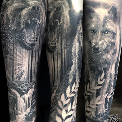 black bear tattoo for sleeve