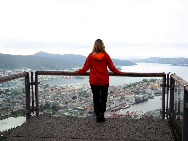 Bergen, Fløyen, přístav, Norsko, trek, cestování