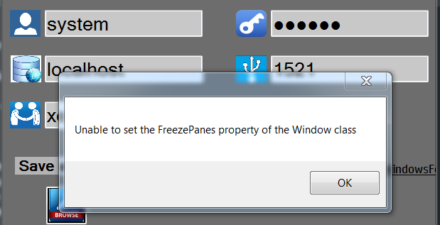 Unable to Set Freeze Panes property of Windows Class in c#