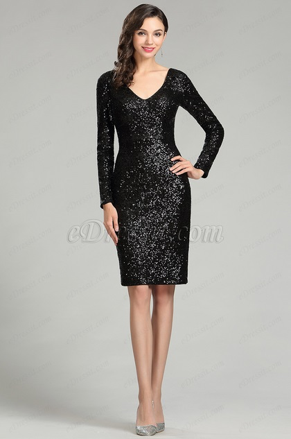 eDressit Black Sequins Night Party Cocktail Dress