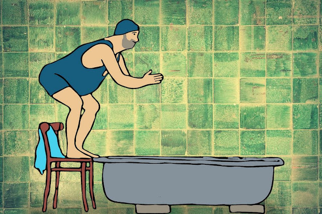 żartobliwy rysunek o hydroterapii