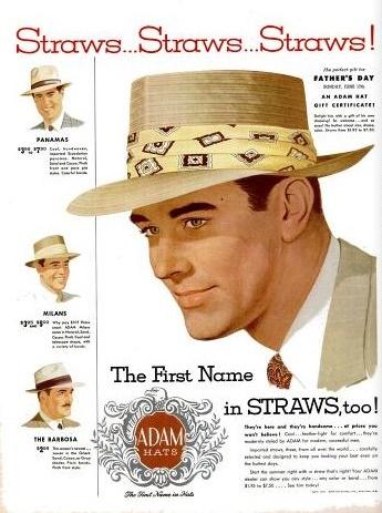 vintage advertising  1951 ADAM HATS for summer 7e97c1f3551