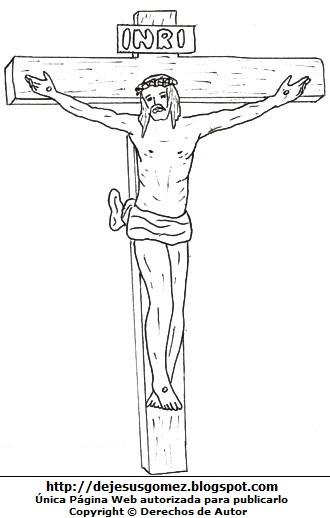Dibujo de Jesús o Jesucristo en la cruz para colorear pintar imprimir. Dibujo de Jesús hecho por Jesus Gómez