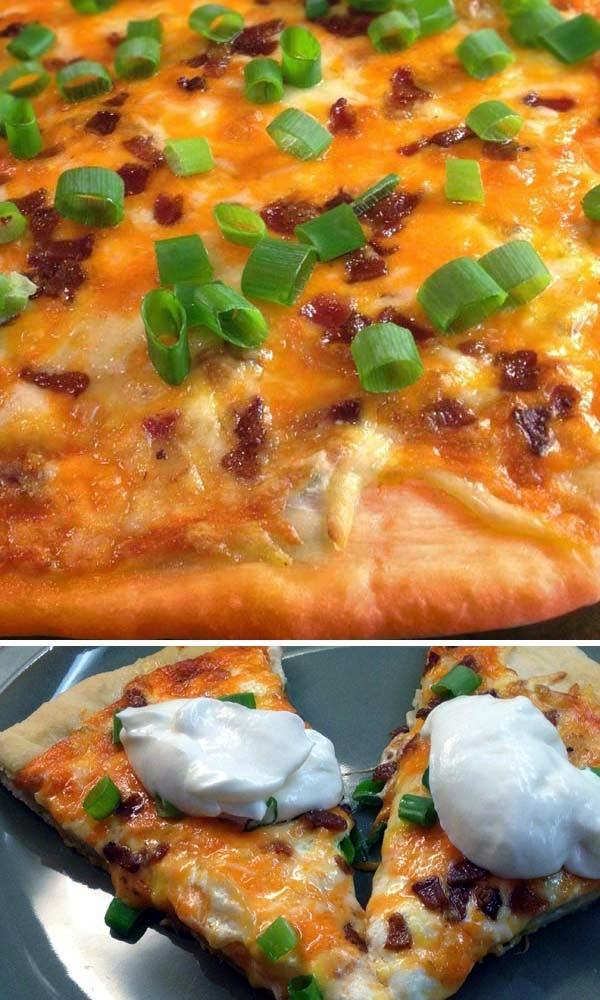 Spicy Perogy Pizza Served with a Dollop of Sour Cream. A Copycat Recipe of Boston Pizza.