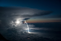 Lightning seen from plane above Colombia