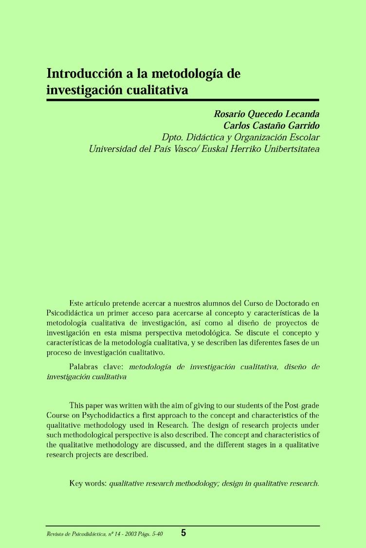 Introducción a la metodología de investigación cualitativa – Rosario Quecedo Lecanda