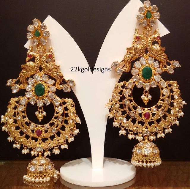 Nakshi work Chandelier Earrings