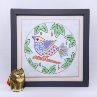 Bird on branch modern stitching on card paper pricking embroidery pattern for framed wall art picture making.