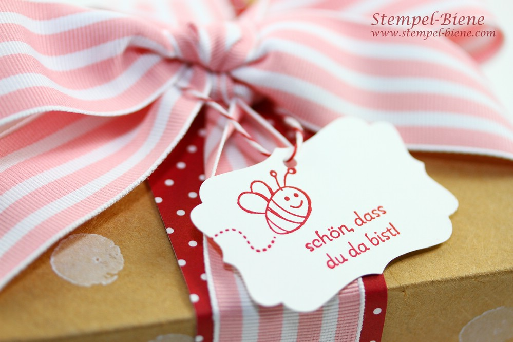 Stampin Up Team-Geschenke, Stampin Up Convention 2014 Teamgeschenke, Stampin Up Team Stempel-Biene, Stampin Up Imbiss-Schachteln, Lunchbox basteln