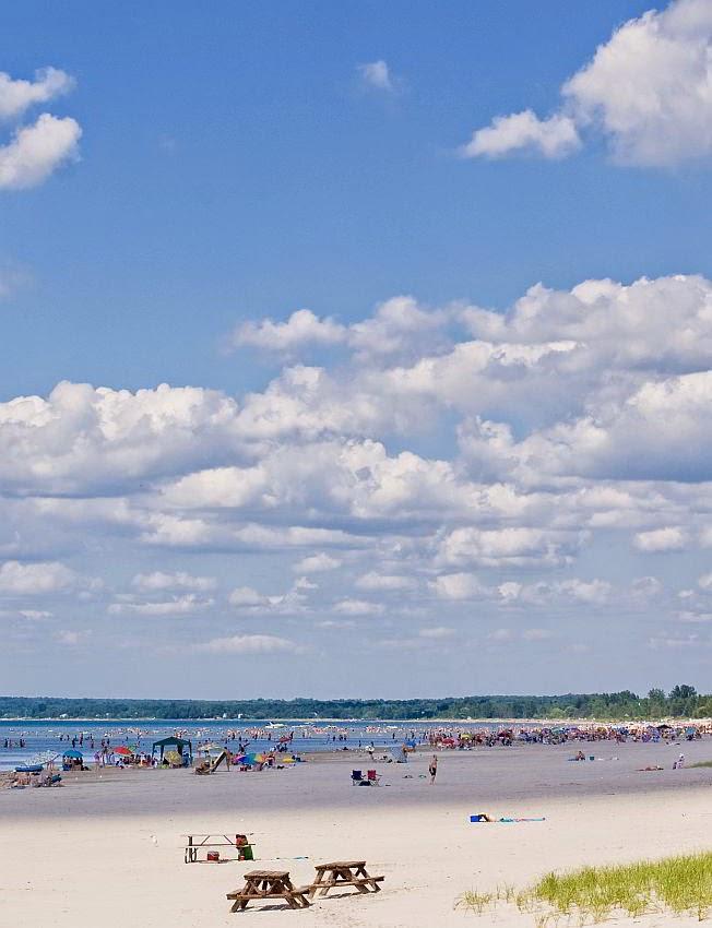 Sand, sea, and blue sky at Wasaga Beach.