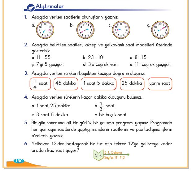 3. Sınıf Berkay Yayınları Matematik Ders Kitabı 190.Sayfa Cevapları Zamanı Ölçelim