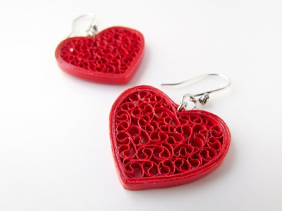 Red heart shape Quilling Paper Earring Designs for Valentines Day Special 2016