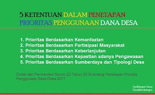 Permendes Nomor 22 Tahun 2016 tentang Penetapan Prioritas Penggunaan Dana Desa 2017