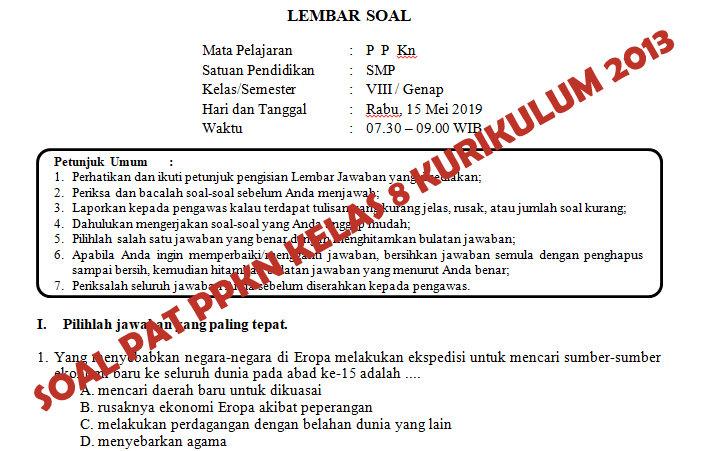 Soal Dan Kunci Jawaban Pat Ppkn Smp Kelas 8 Kurikulum 2013 Tahun