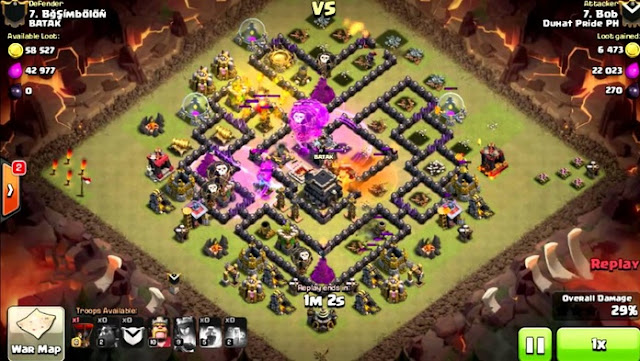 [CLASH OF CLANS] CARA WAR ATTACK TH 9 DENGAN LAVALOON GOWIPE GOWIHO