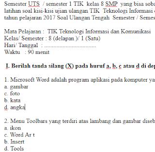 Soal-Ulangan-Ujian-UTS-TIK-kelas-8-SD-semester-1