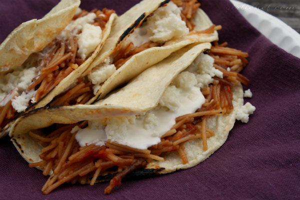 Tacos de Fideo (Angel Hair Tacos)