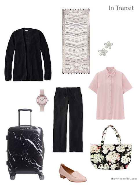 warm weather travel outfit in black and pink
