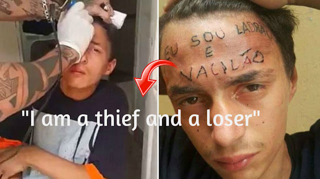 Tattoo artist arrested for tattooing i am a thief and a for Loser lover tattoo