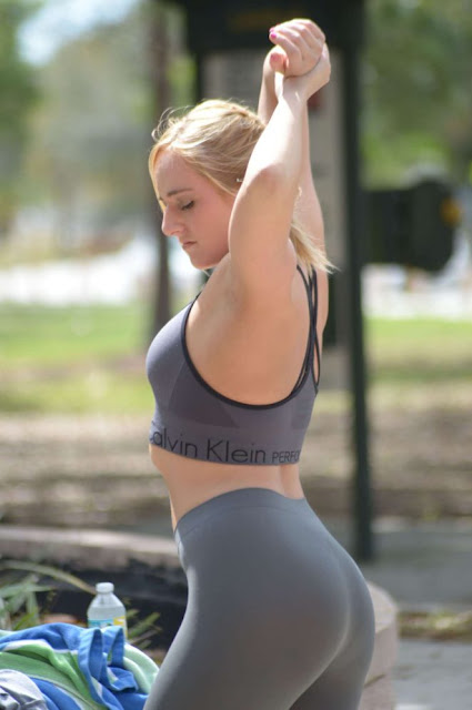Kate England workout at a park in Miami