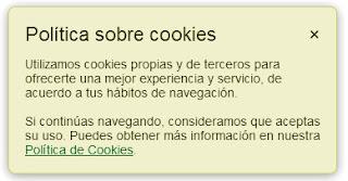 Mensaje política de cookies
