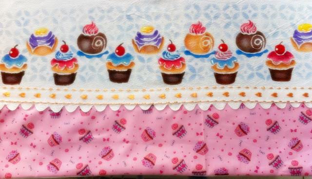 stencil pintura em tecido cupcake