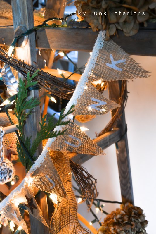 Burlap banner on a treeless Christmas tree by Funky Junk Interiors, banner by Sandra