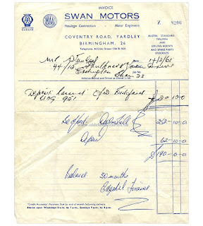 Swan Motors invoice 14 March 1961