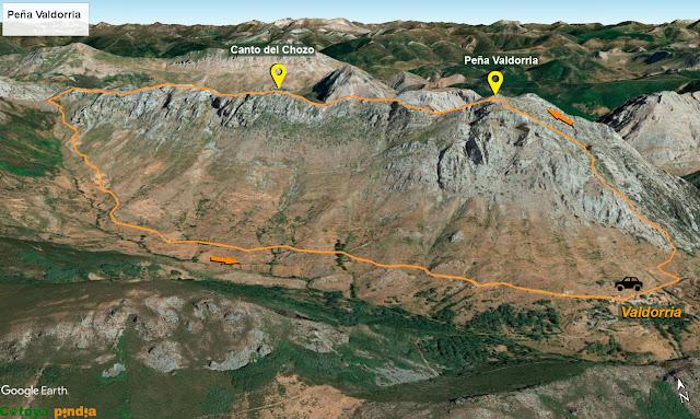 Map 3D de la ruta señalizada a Peña Valdorria.