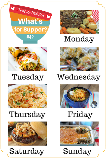 Caribbean Shrimp Pasta, Crock Pot Taco Soup, Shepherd's Pie, Sweet and Salty Blondies, and more at What's for Supper Sunday over at Served Up With Love.