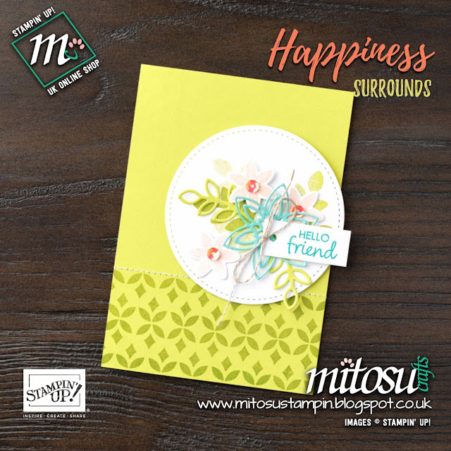 Stampin' Up! Happiness Surrounds & Snowfall Thinlits Card Idea. Order Snowflake Showcase Online from Mitosu Crafts UK