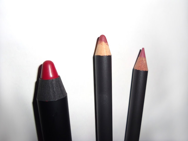 NARS velvet matte lip pencil cruella, mac chicory lip pencil, mac soar lip pencil